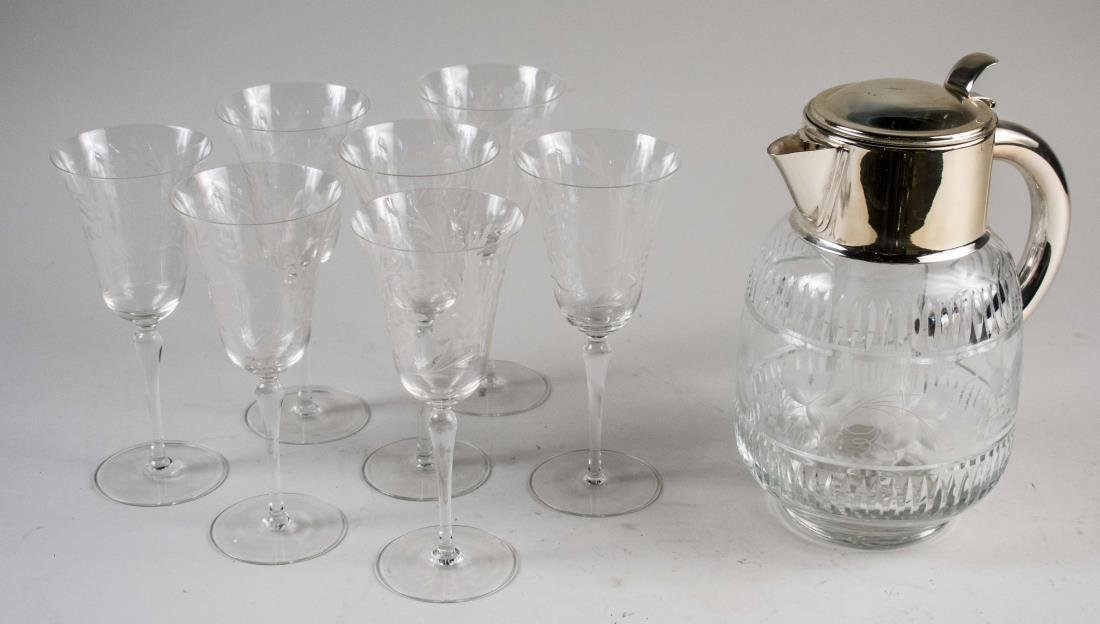Cut Glass Pitcher and Set of Stemware