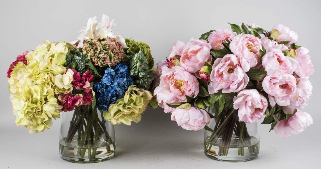 Two Silk Flower Arrangements