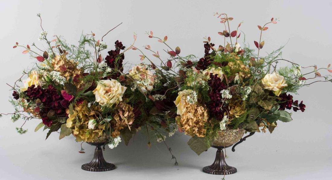 Pair of Autumnal Silk Flower Arrangements