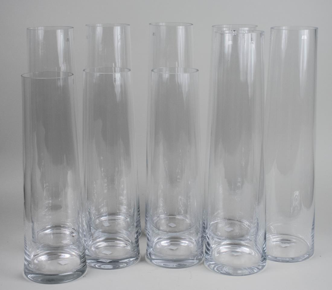 Nine Glass Vases