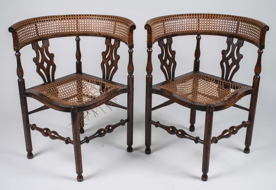 Pair of Caned Corner Chairs
