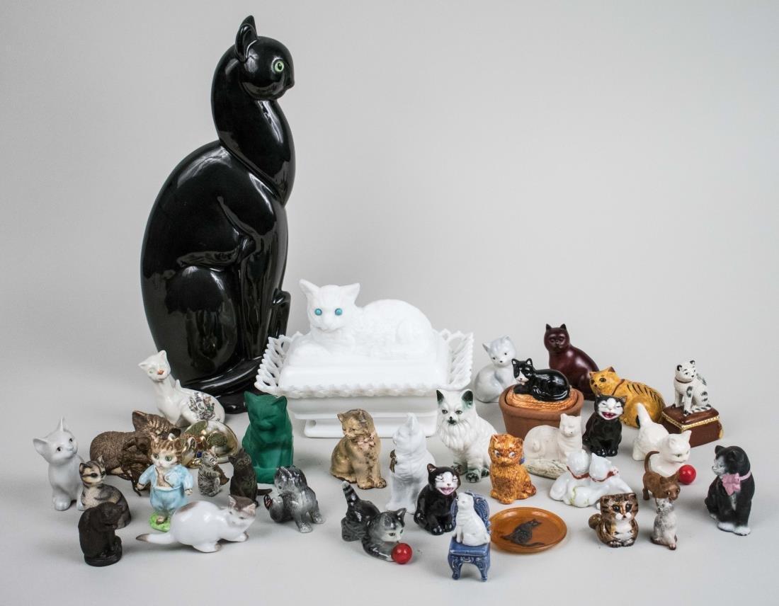 Group of Cat Figurines and Ephemera