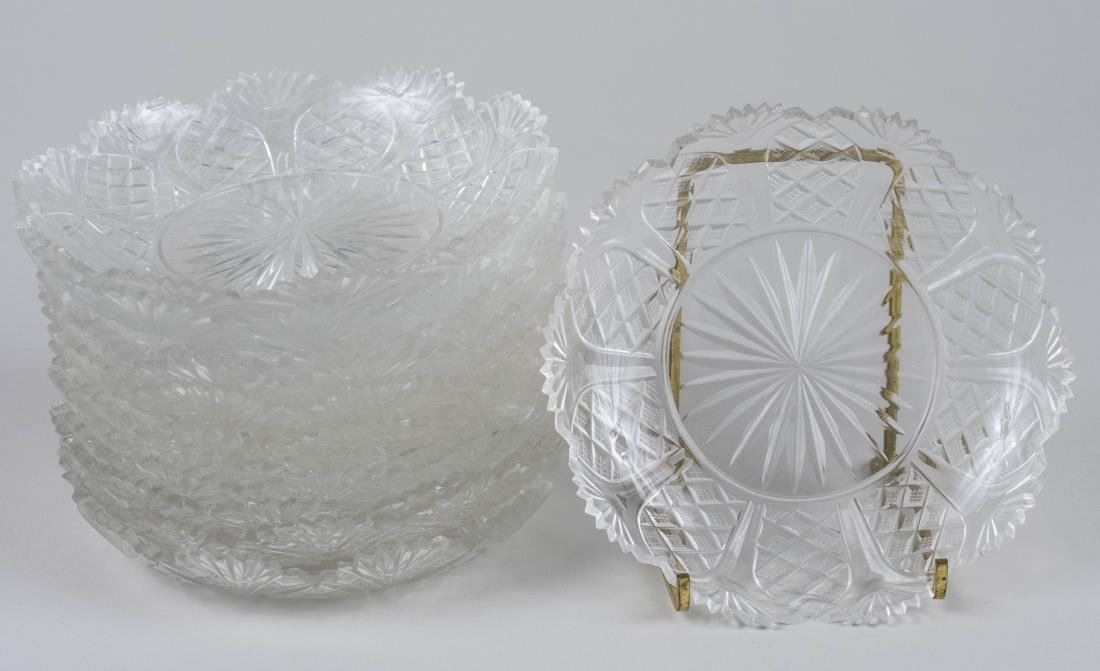 Set of Twelve Cut Glass Dessert Dishes