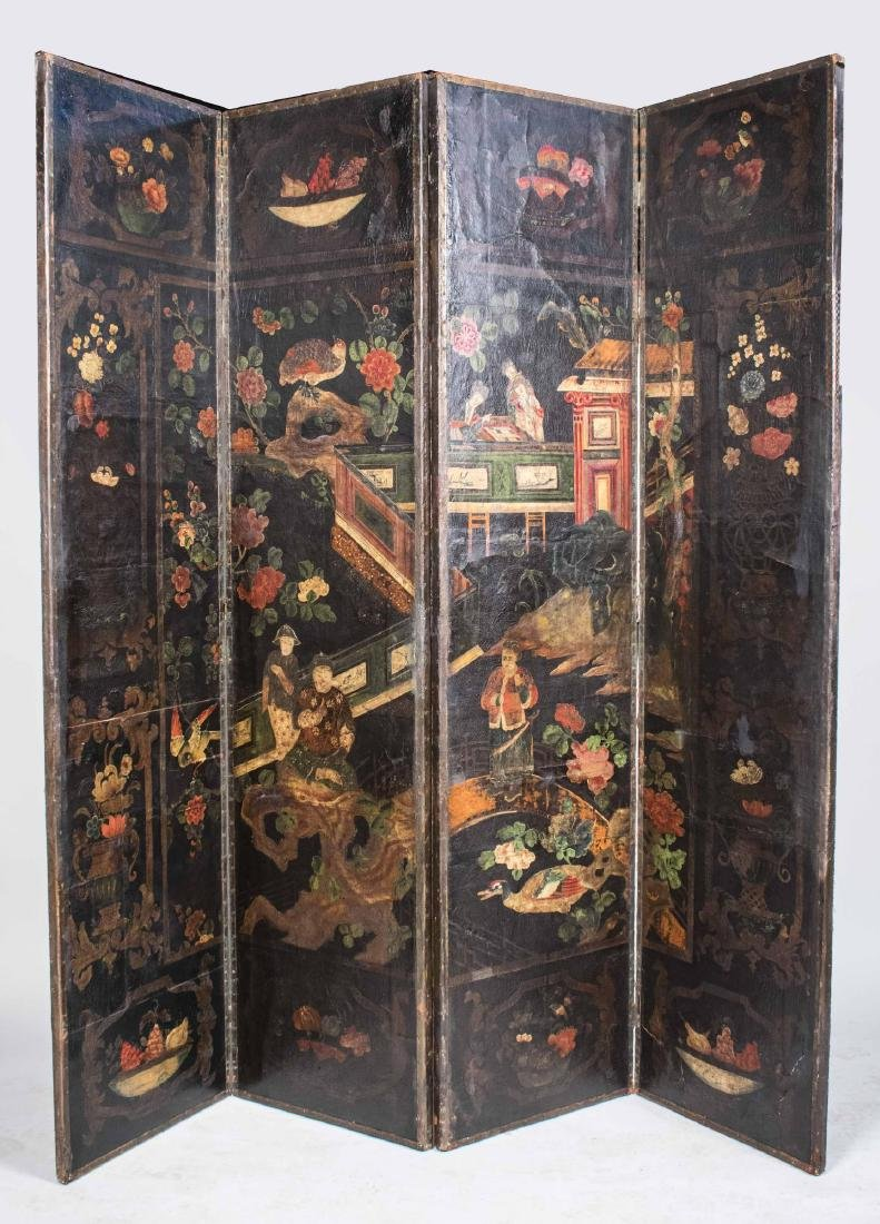Four Panel Leather Floor Screen