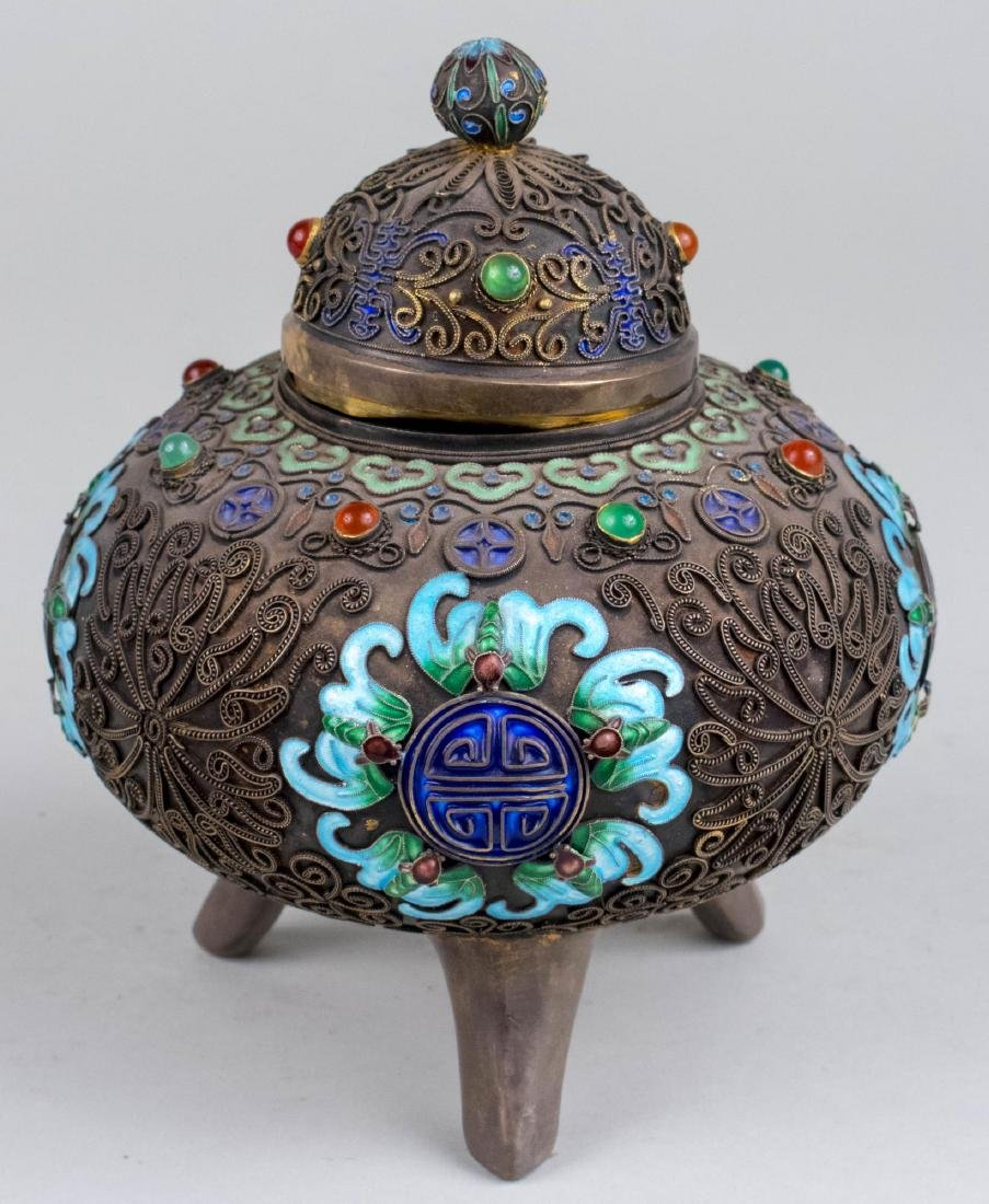 Chinese Silver and Cloisonne Box