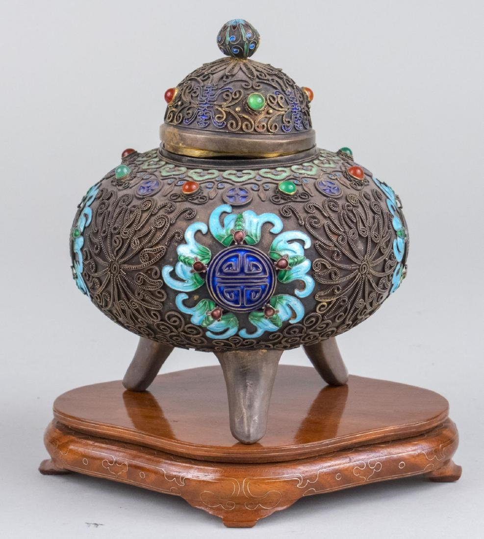 Chinese Silver and Cloisonne Box - 4