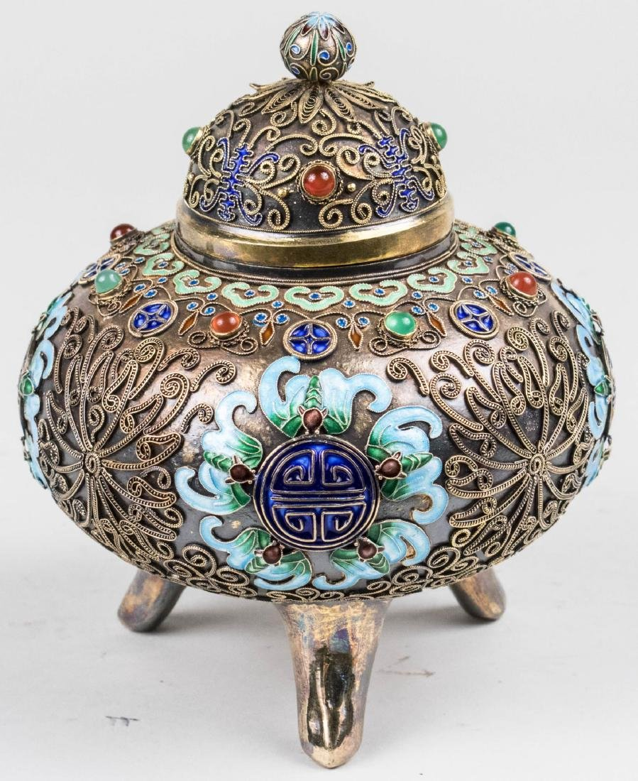 Chinese Silver and Cloisonne Box - 5