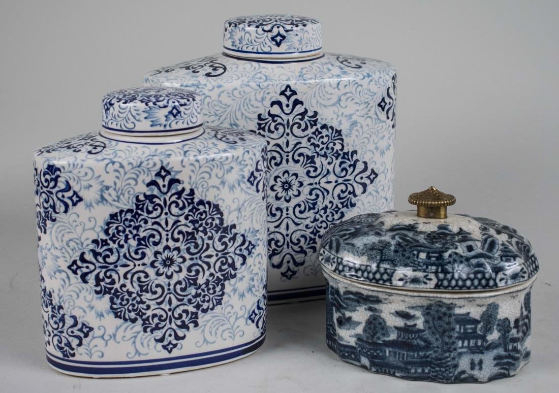 Three Chinese Blue and White Porcelain Articles