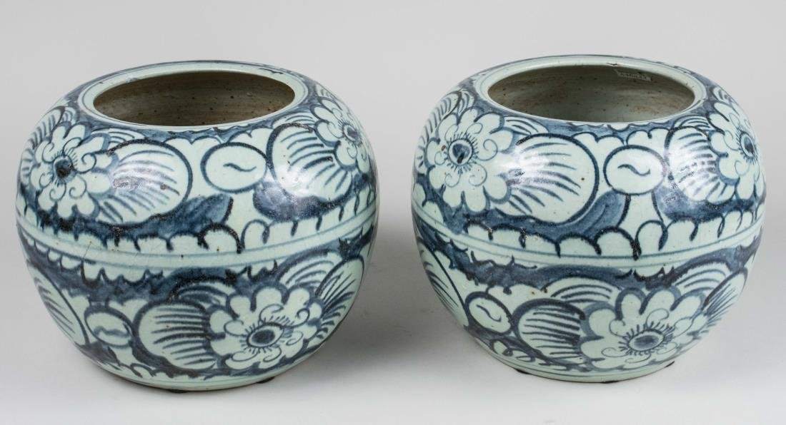 Pair of Chinese Blue and White Ceramic Vases