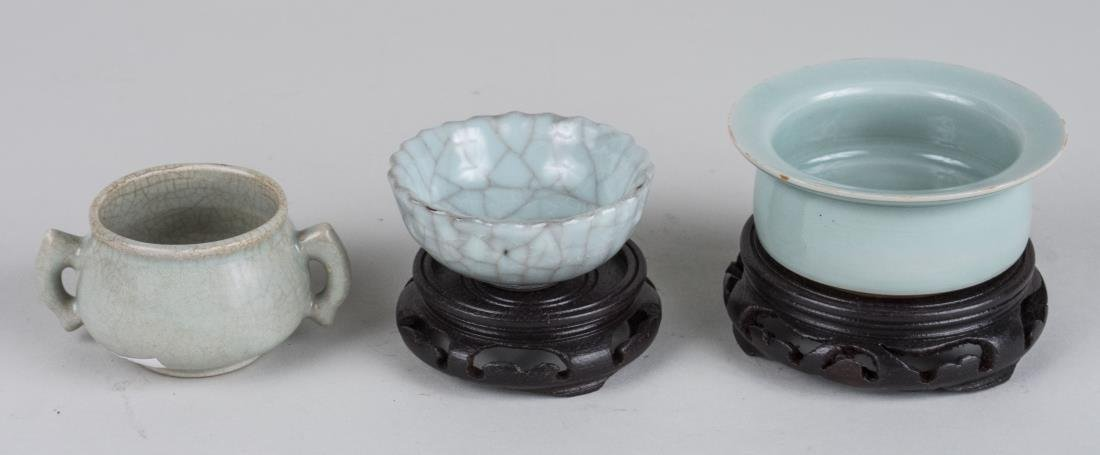 Three Chinese Celadon Porcelain Bowls