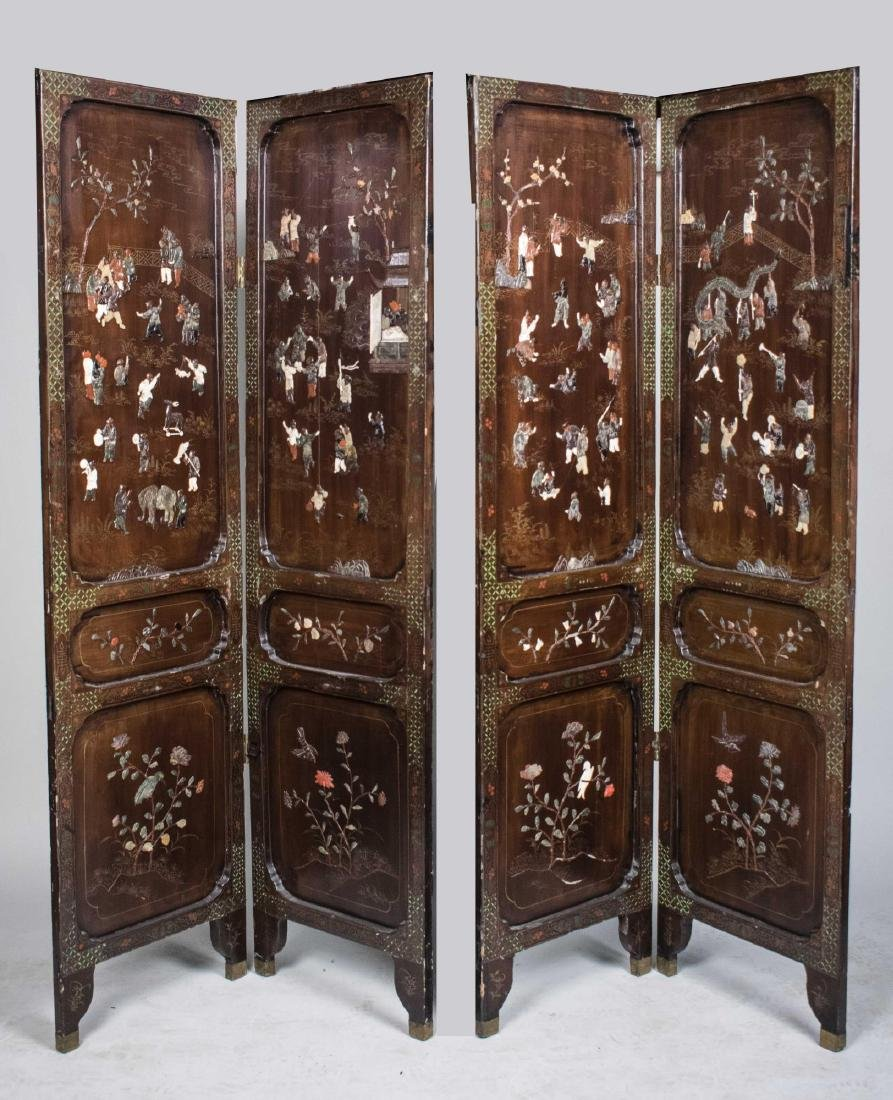 Chinese Hardstone Decorated Screen