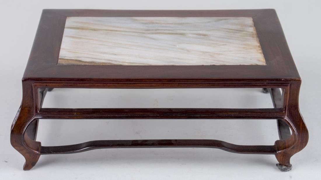 Asian Marble Top Hardwood Table Stand