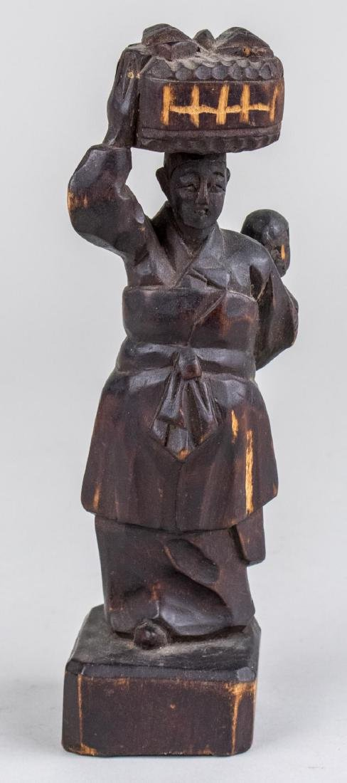 Asian Carved Wood Sculpture of Woman