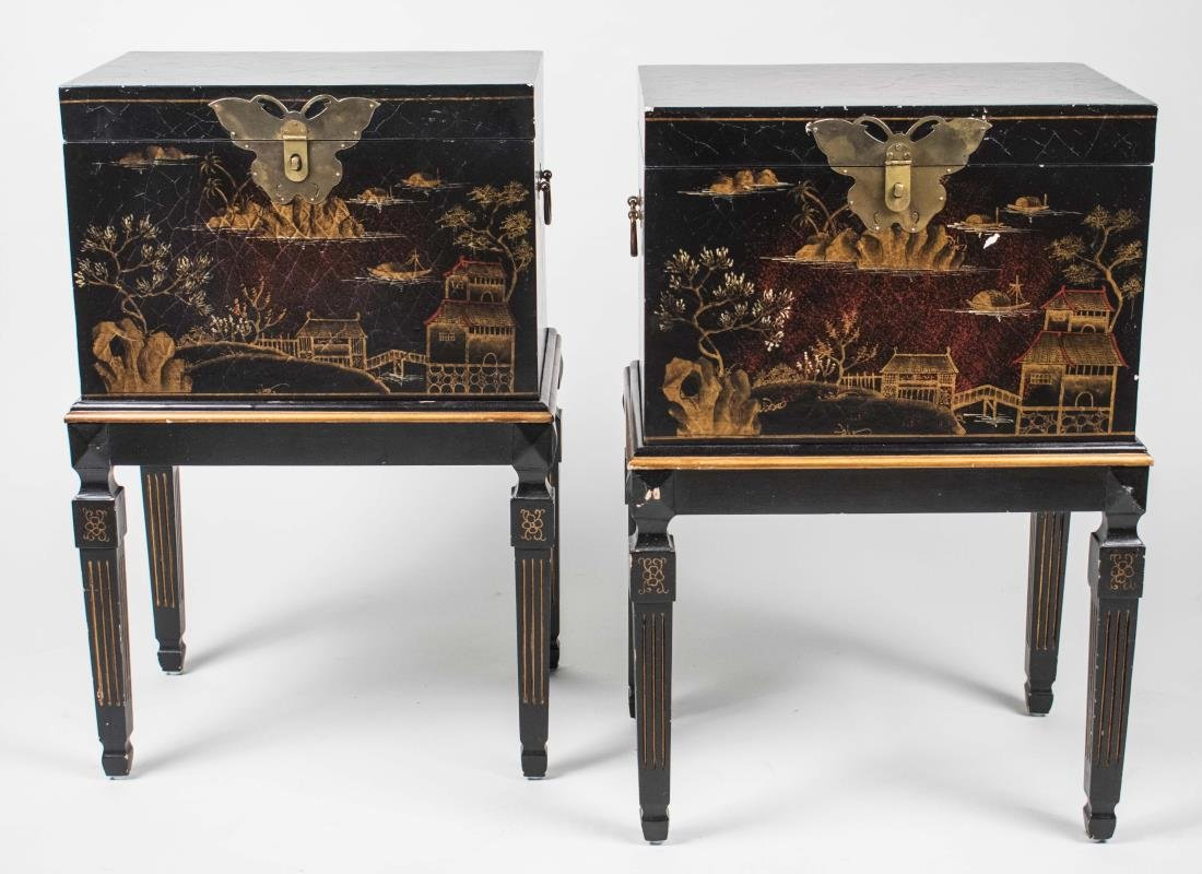 Pair of Lacquered Boxes on Stands