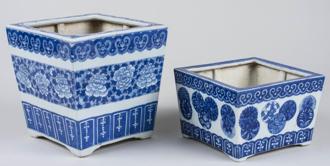 Two Chinese Blue and White Cachepots