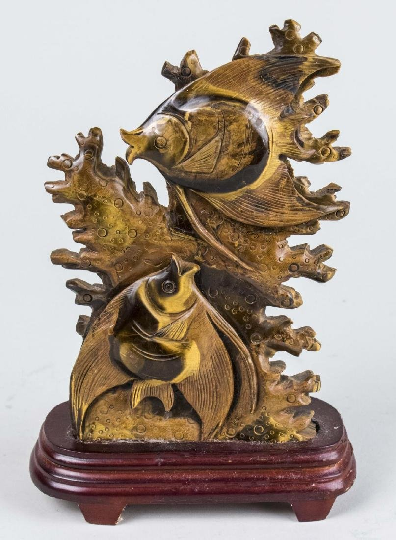 Chinese Carved Tiger Eye Sculpture