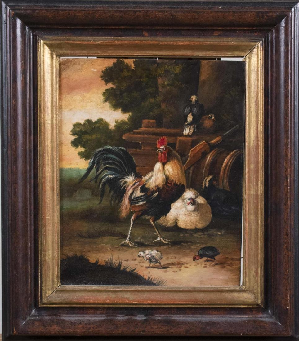 Farm Scene with Roosters (20th Century)