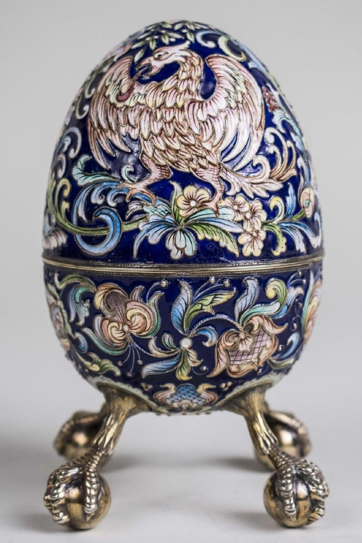 Russian Silver Gilt and Shaded Enamel Easter Egg *