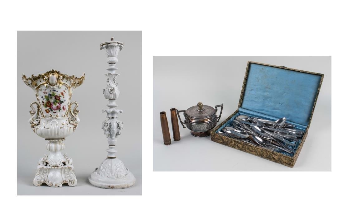 Set of Flatware & Paris Porcelain Vase
