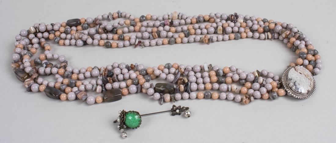 Miriam Haskell Bead Necklace & Stickpin