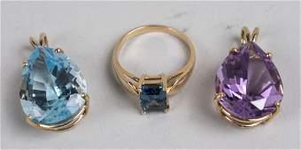 Two Gemstone Pendants & Ring
