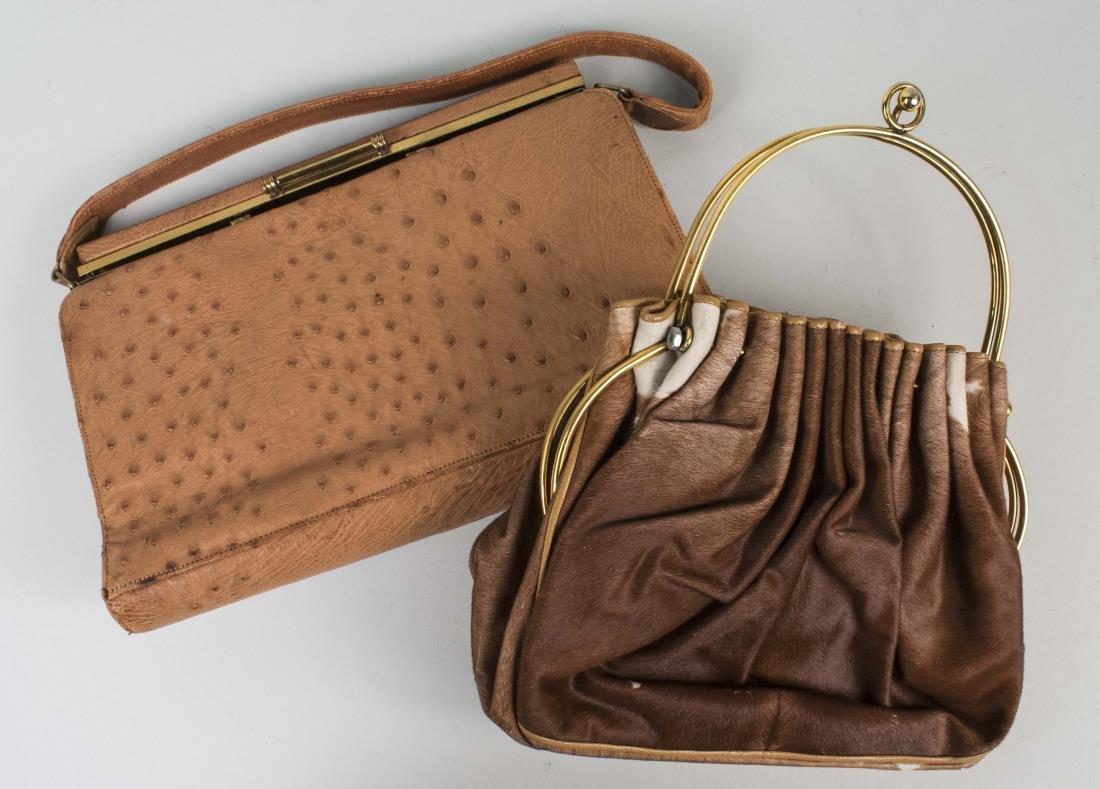 Vintage Ostrich Handbag and Ponyhair Purse