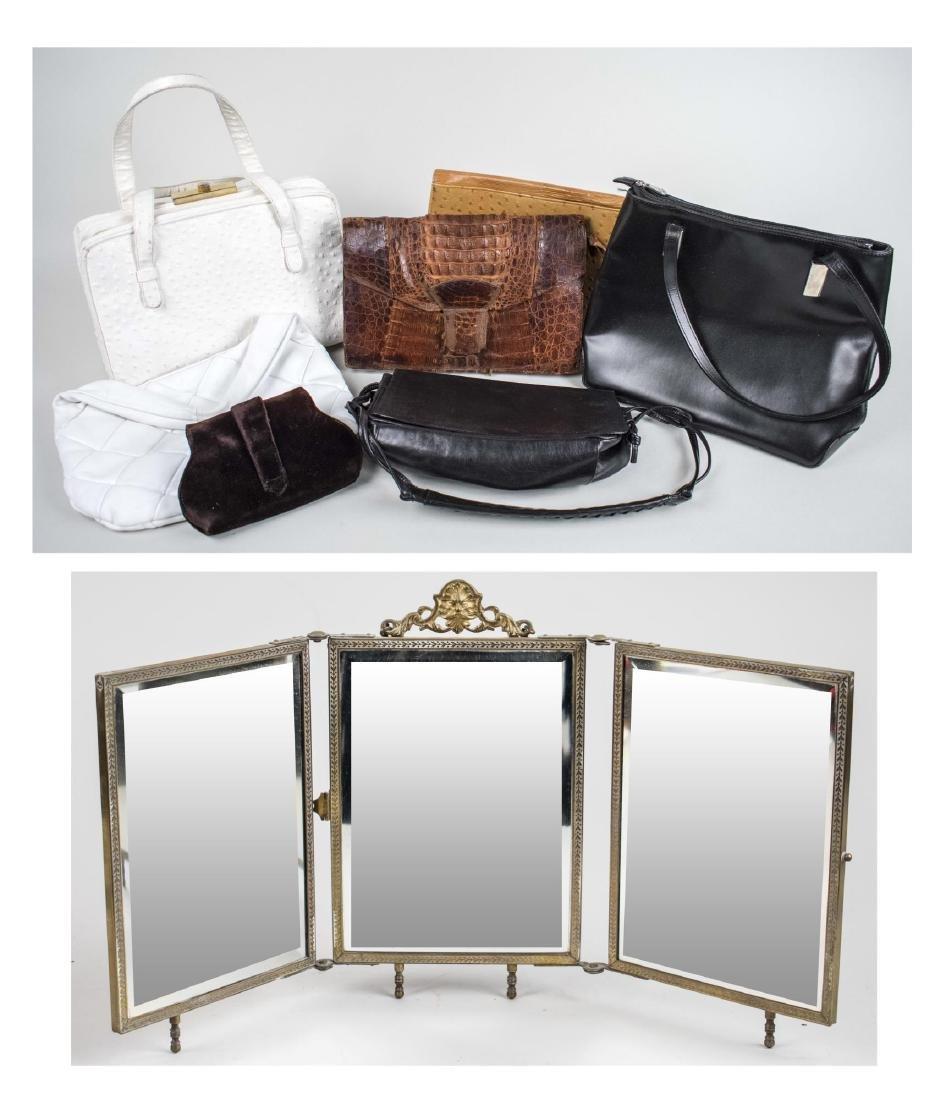 Tabletop Triptych Mirror & Vintage Purses