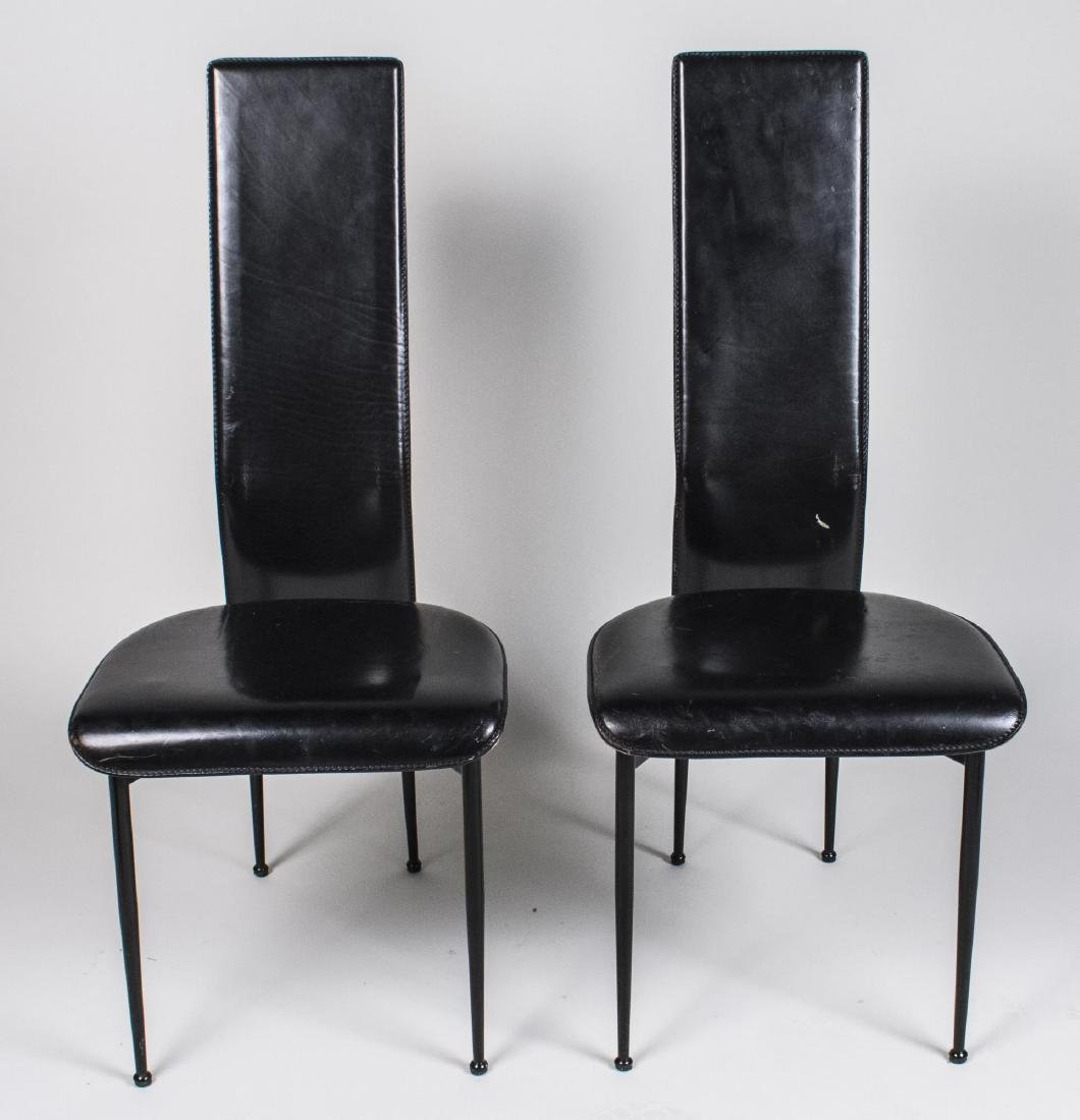 Pair of Black Leather Side Chairs