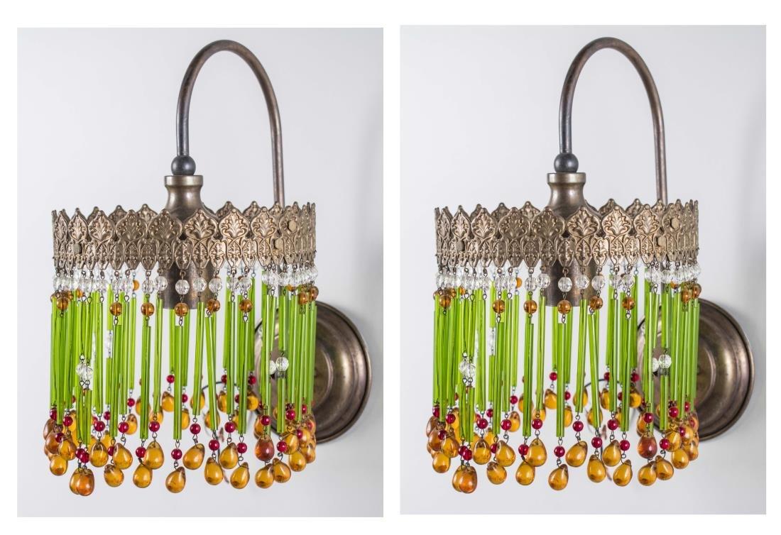 Pair of Fringe Glass Sconces