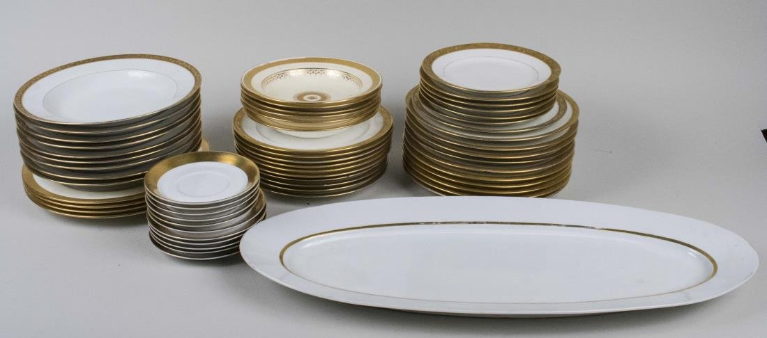Assembled Set of Gilt Decorated Dishes