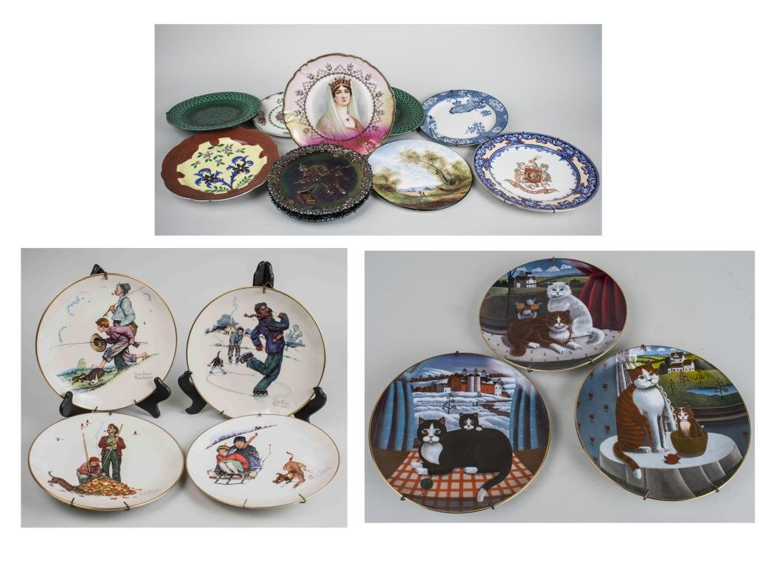 Set of Four Norman Rockwell Cabinet Plates
