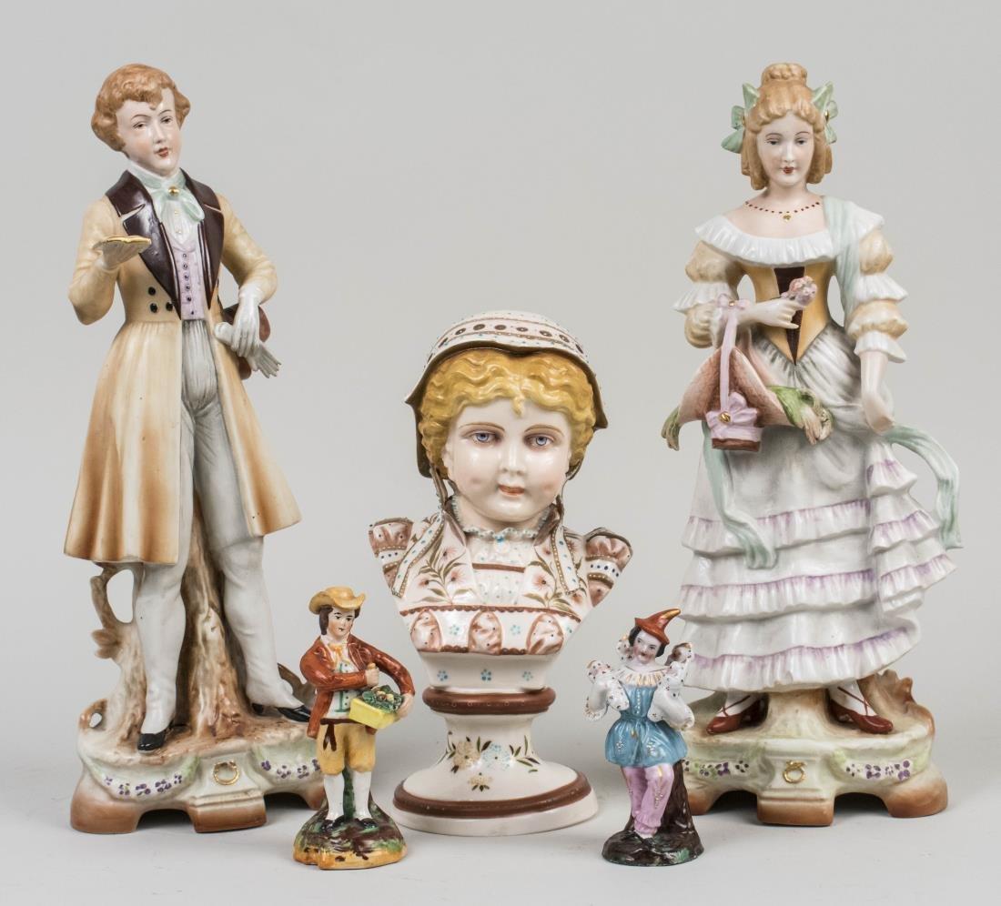 Five Continental Porcelain Figures