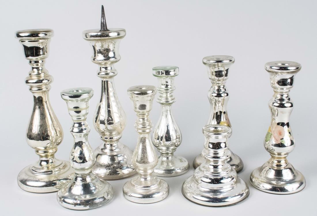 Group of Mercury Glass Candlesticks