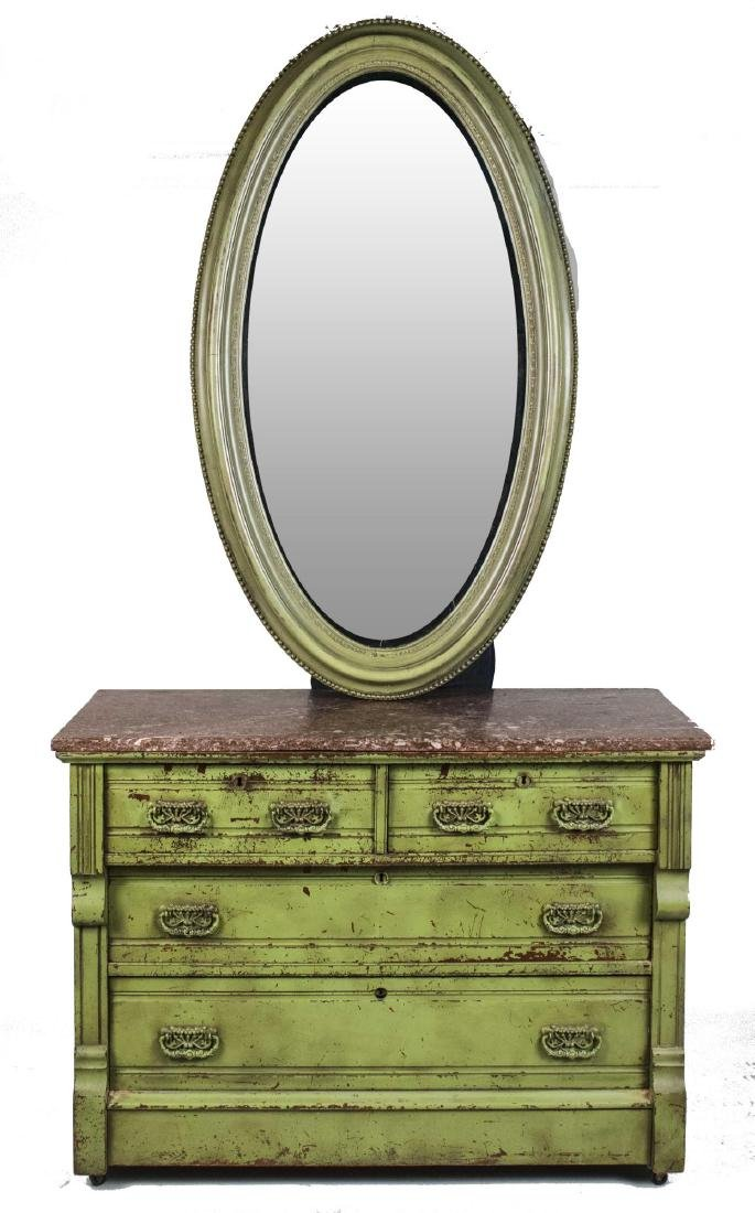 Green Painted Marble Top Chest and Mirror