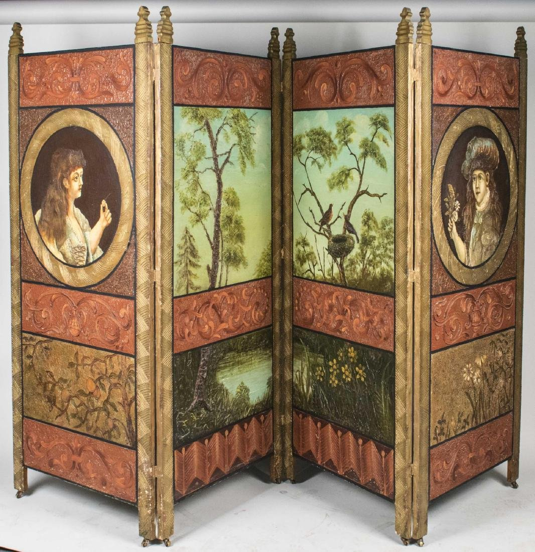 Renaissance Style Leather Floor Screen   *