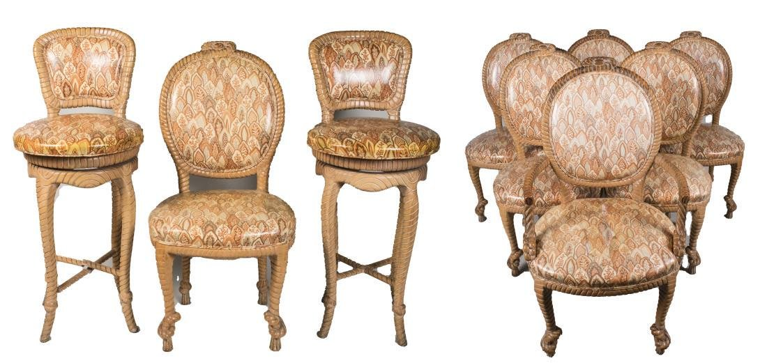 Set of Seven Dining Chairs and Pair of Barstools