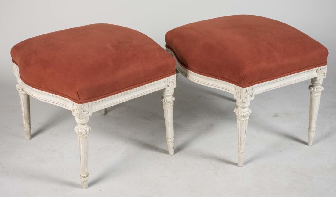 Pair of Louis XVI Style Painted Footstools