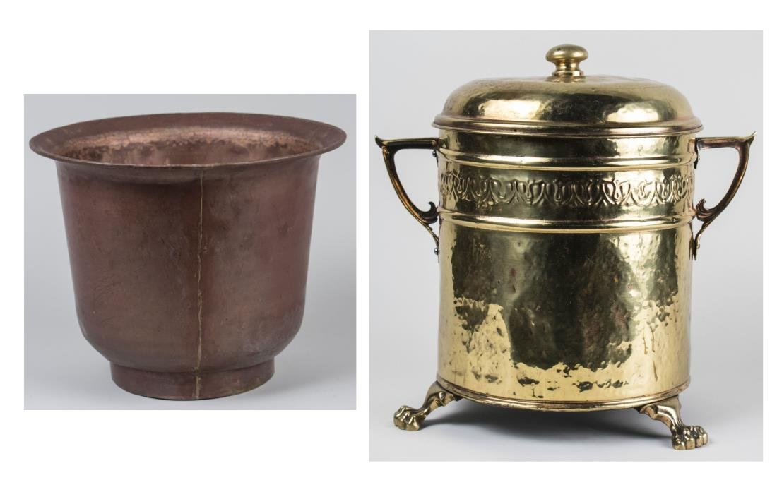 Brass Bin and Copper Cachepot