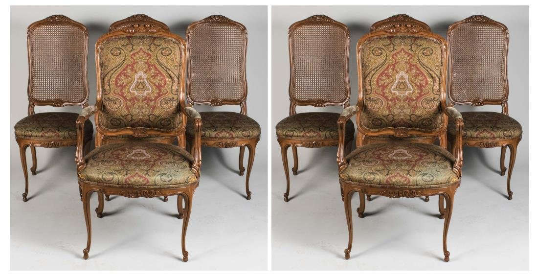 Set of Eight Louis XV Style Dining Chairs
