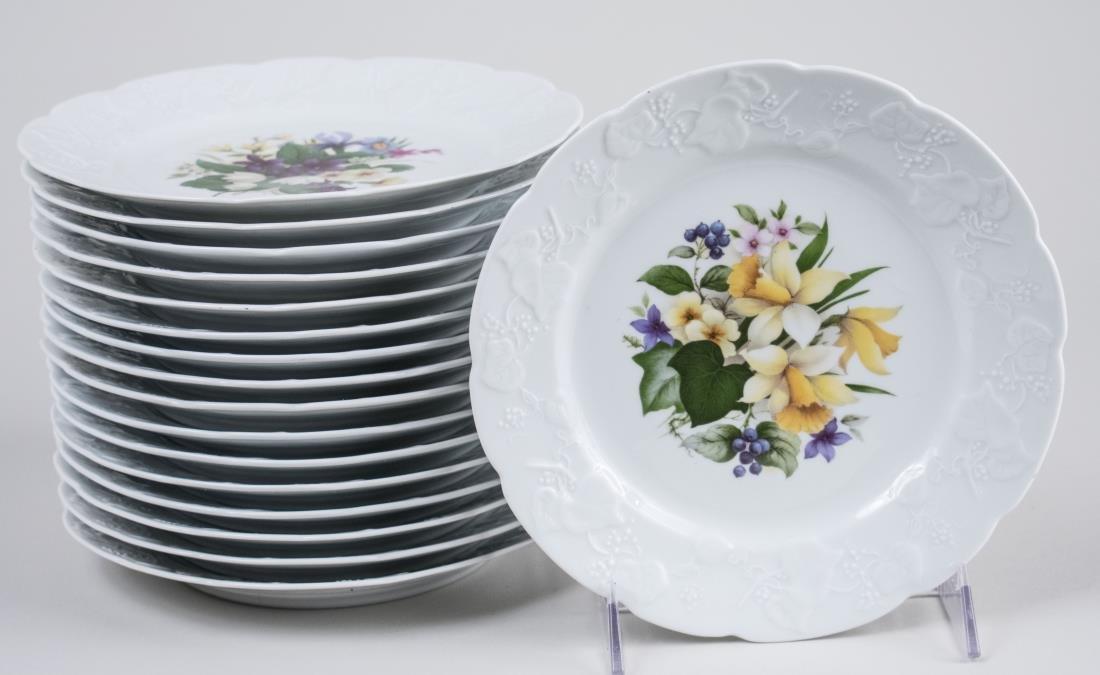 Set of French Porcelain Dessert Plates