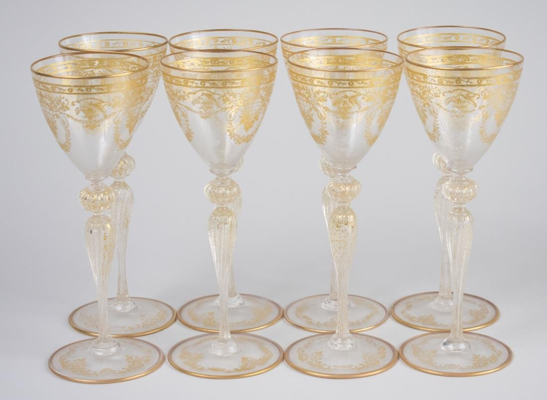 Set of Eight Continental Gilt Wine Glasses