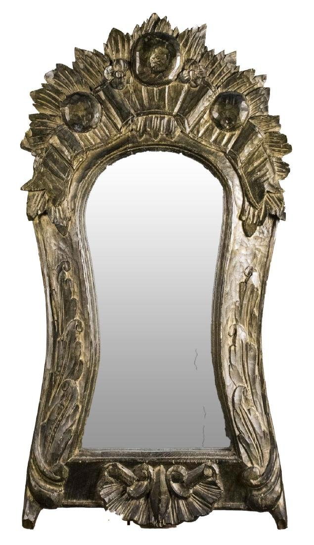 Carved and Silvered Wood Mirror