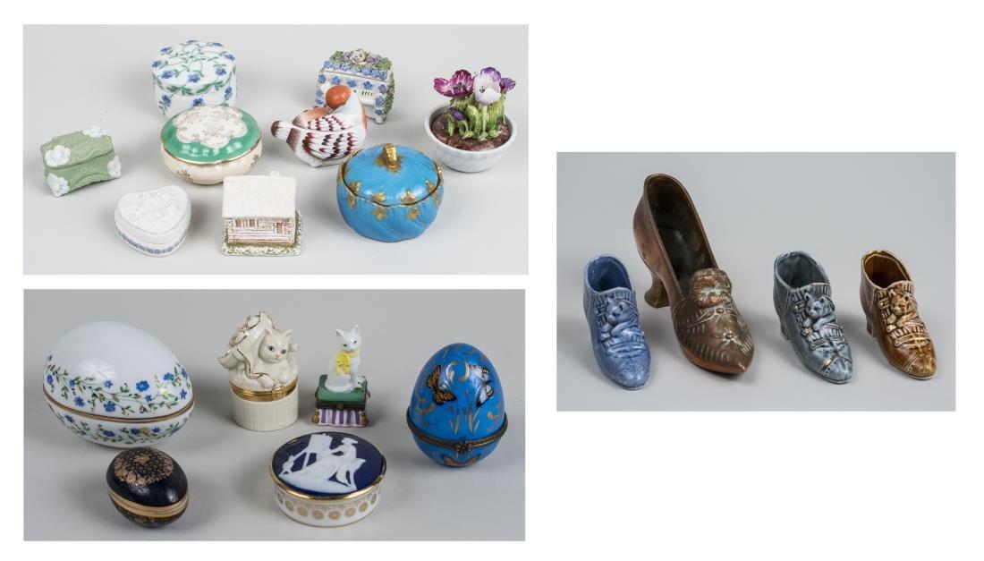 Group of Porcelain Trinket Boxes & Shoes
