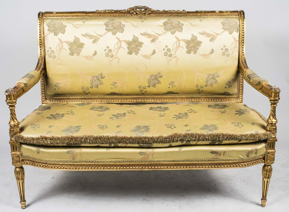 Louis XVI Style Gold Painted Settee