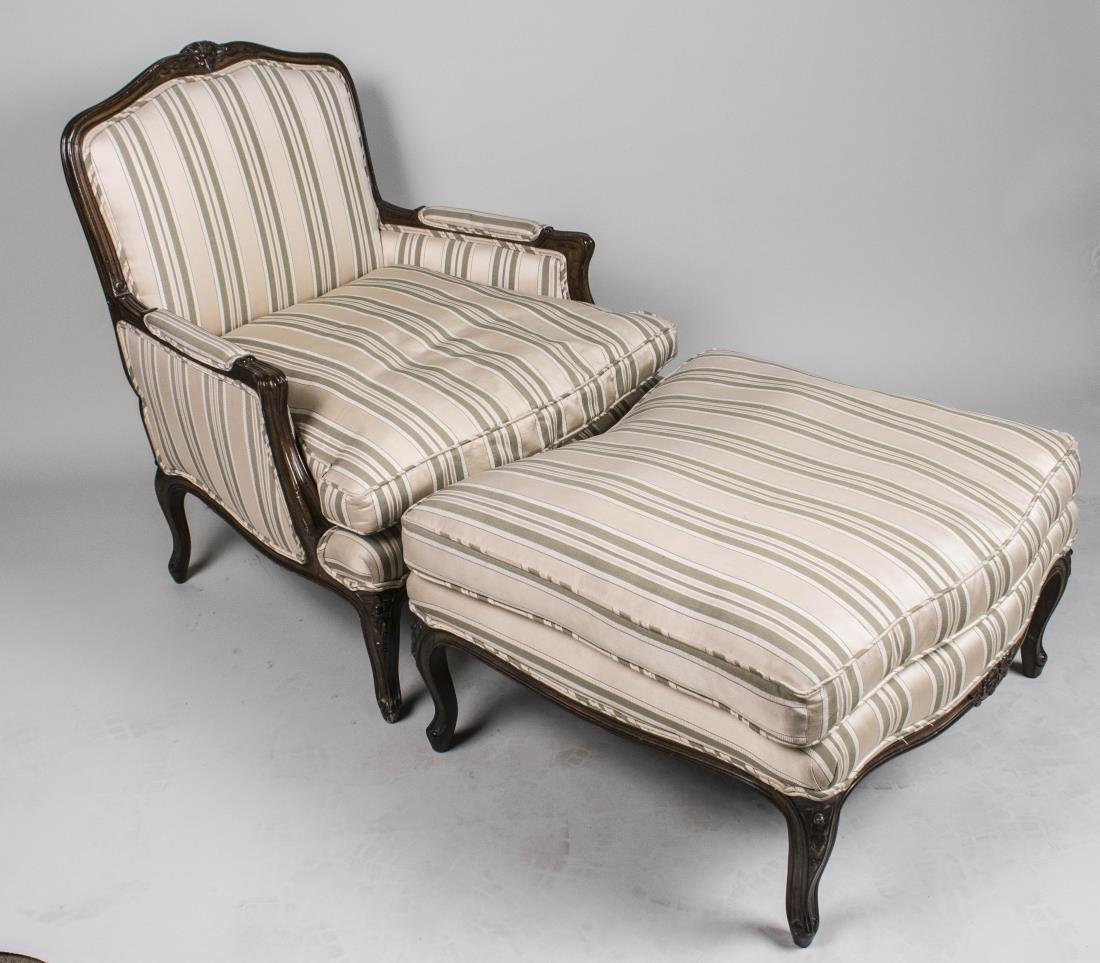 Louis XV Style Bergere and Ottoman