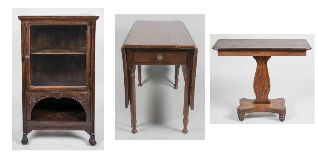 Drop Leaf Table, Side Cabinet & Side Table