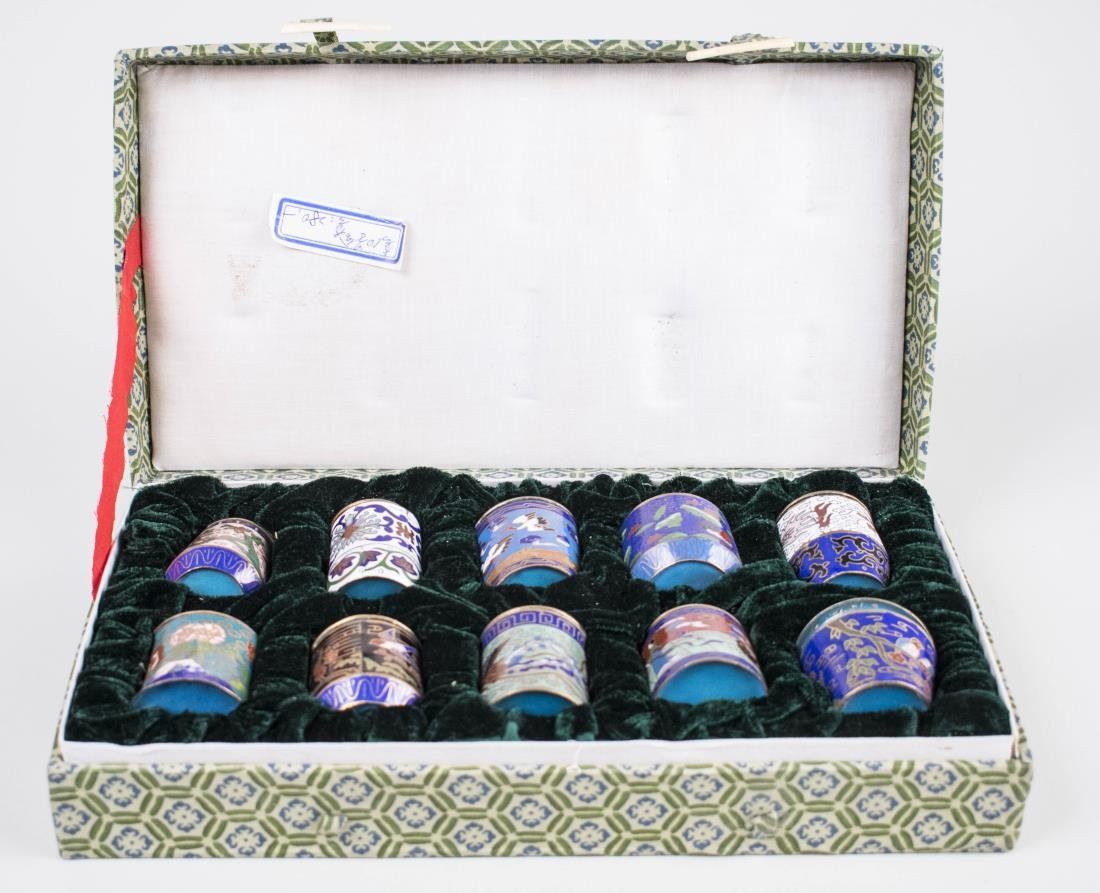 Boxed Set of Chinese Cloisonne Cups