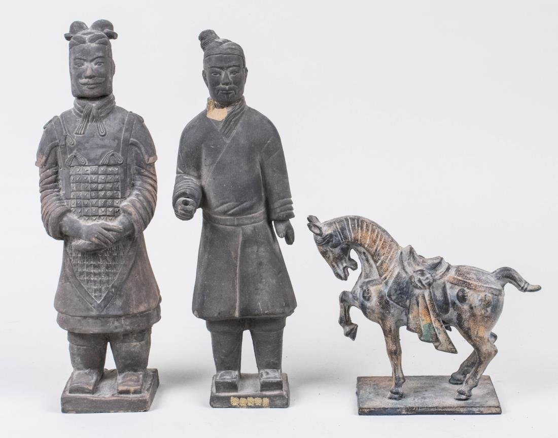 Two Chinese Figures and Tang Style Horse
