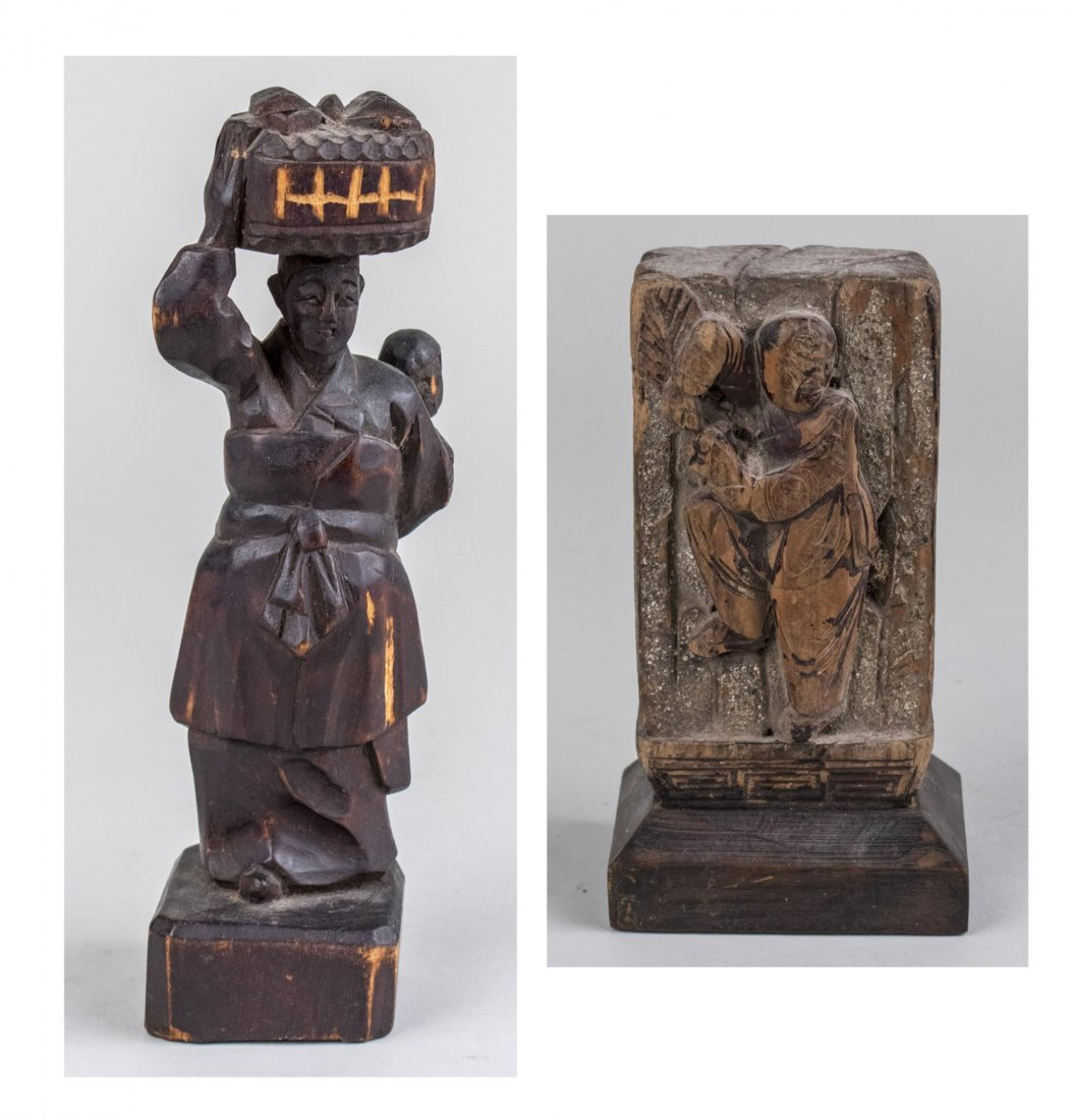 Pair of Asian Carved Wood Sculptures