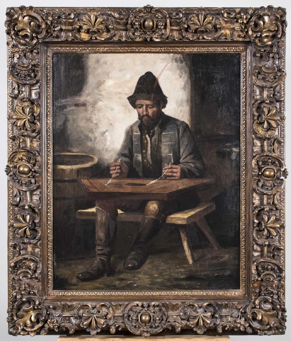 Portrait of a Man Playing A Lap Harp (19th C)